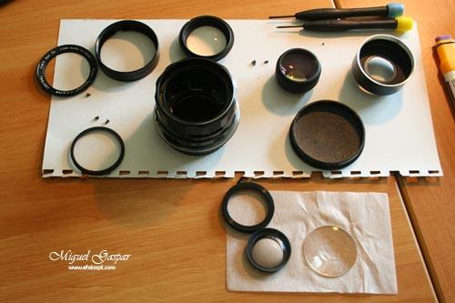 Lente desmontada - limpar lentes