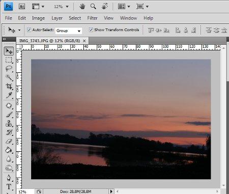 Foto antes de corrigir o horizonte