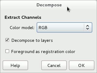 Gimp - Janela Decompose para RGB