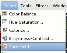 Gimp - Color -> Threshold - Cavalhadas