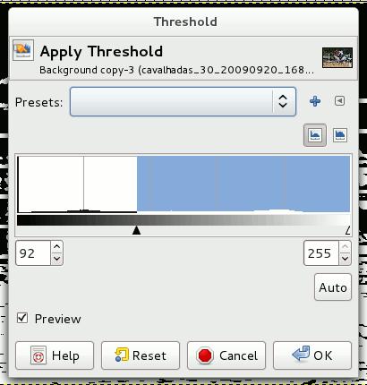 Gimp - Threshold - Valores - Cavalhadas